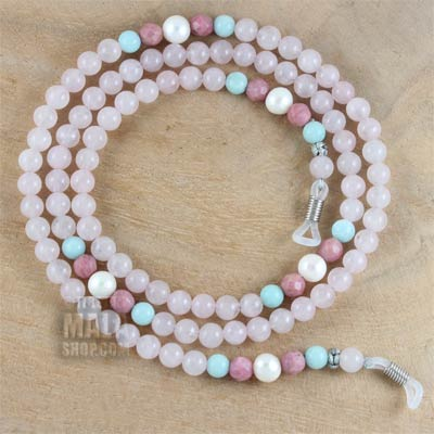 rose quartz eye glass chain