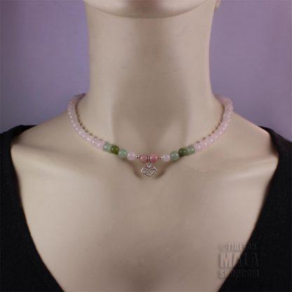 rose quartz infinity heart choker necklace