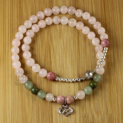 rose quartz infinity heart wrap braceletbracelet