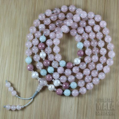 rose quartz knotted mala