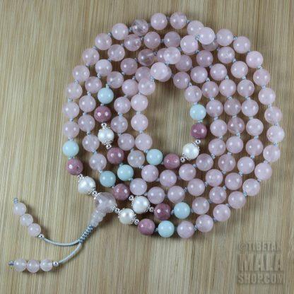 rose quartz knotted mala