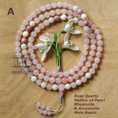rose quartz with pearl mala beads