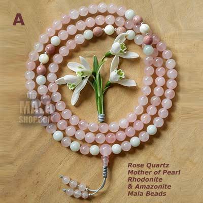 rose quartz with pearl mala beads