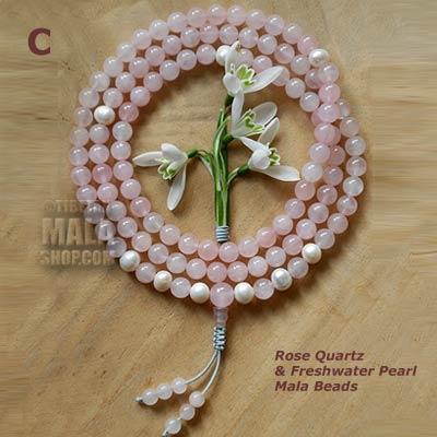 rose quartz pearl mala beads