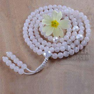 rose quartz silver mala beads