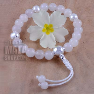rose quartz with silver wrist mala beads