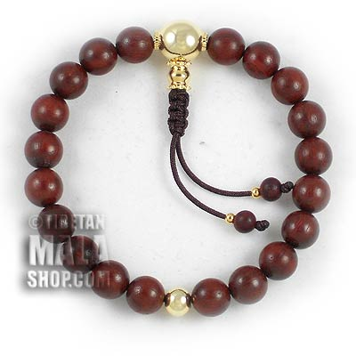 rosewood mala bracelet with gold