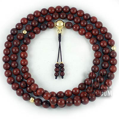 rosewood prayer beads with gold