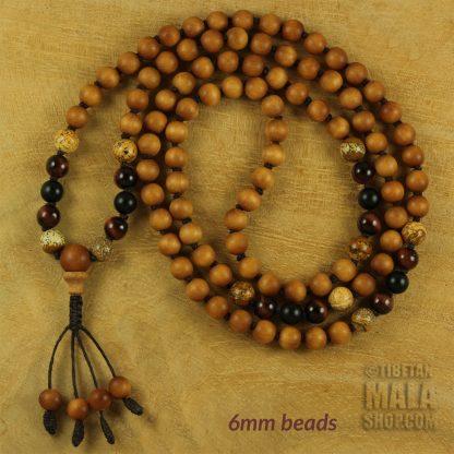 sandalwood knotted mala 6mm beads