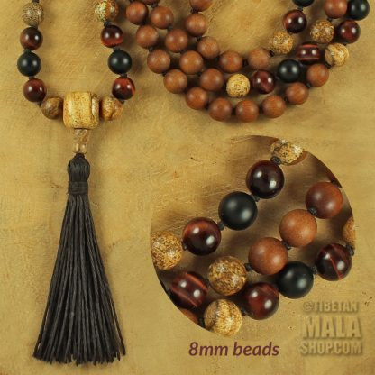 sandalwood knotted mala 8mm beads