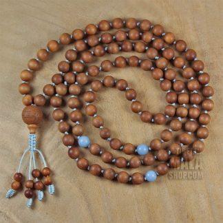 sandalwood knotted necklace mala