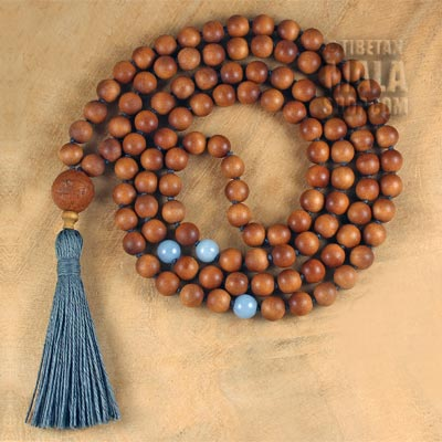 sandalwood knotted tassel necklace