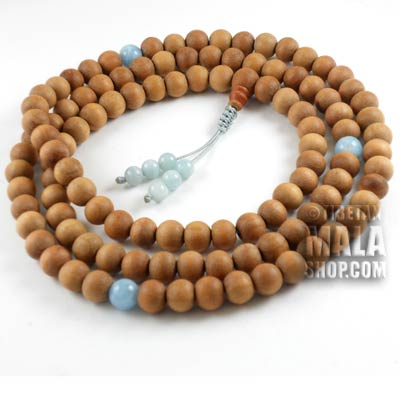 sandalwood mala beads with aquamarine