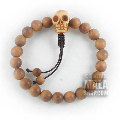 sandalwood mala bracelet with skull guru bead