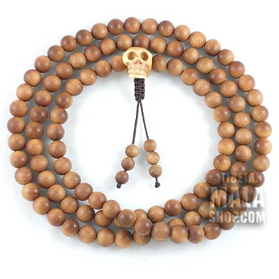 sandalwood mala with skull guru bead