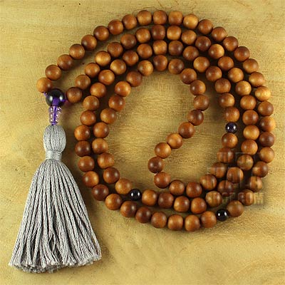 sandalwood mala tassel with amethyst