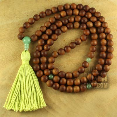 sandalwood mala tassel with aventurine