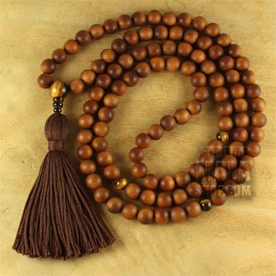 sandalwood mala tassel with tigers eye