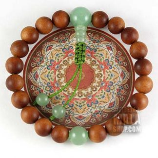 sandalwood wrist mala with aventurine