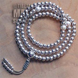 silver mala beads