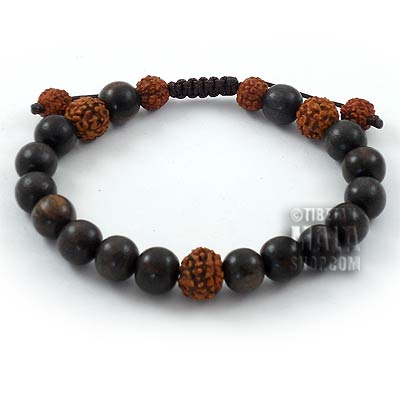 tiger ebony with rudraksha beaded bracelet