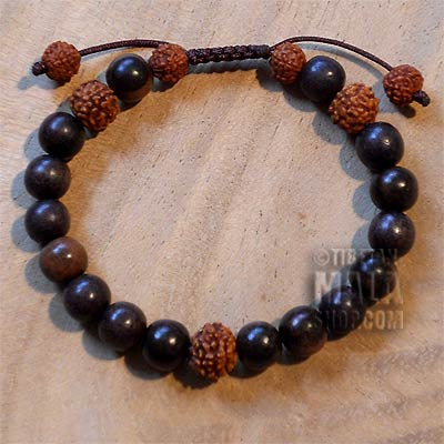 tiger ebony with rudraksha yoga bracelet