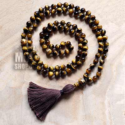 tigers eye knotted mala beads