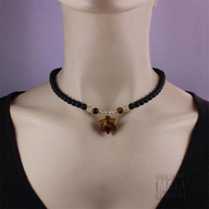 tigers eye merkaba choker necklace