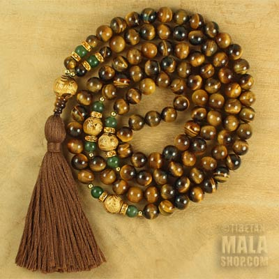 tigers eye prayer mala with tassel