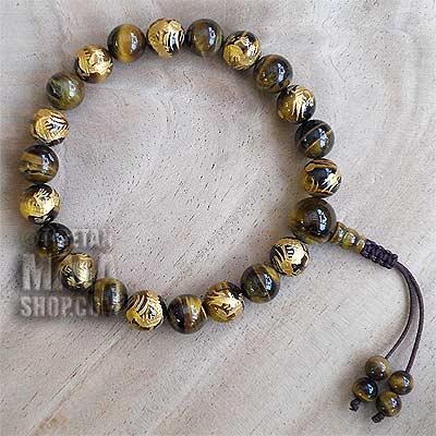 tigers eye gold dragon wrist mala