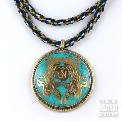 turquoise golden fish pendant