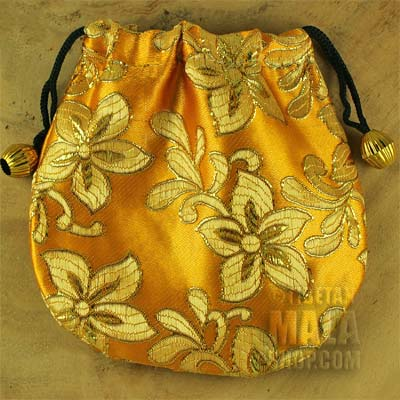 yellow brocade gift bag